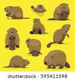 cute beaver various poses... | Shutterstock .eps vector #595411598