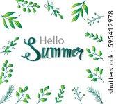 hello summer hand lettering....   Shutterstock .eps vector #595412978