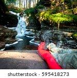 hiker on a sleeping bag in... | Shutterstock . vector #595418273