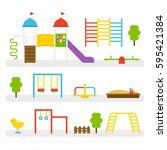 various equipment of playground ... | Shutterstock .eps vector #595421384