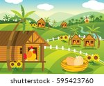 farm illustration with cute... | Shutterstock .eps vector #595423760