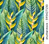 watercolor heliconia seamless... | Shutterstock . vector #595427150