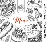 template of fast food menu... | Shutterstock .eps vector #595462889