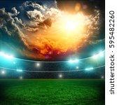 soccer stadium and beautiful... | Shutterstock . vector #595482260