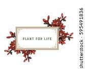 red flower with vintage frame | Shutterstock .eps vector #595491836