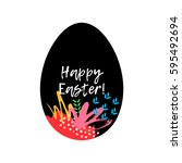 happy easter greeting card.... | Shutterstock .eps vector #595492694