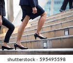 close up legs of businesswoman... | Shutterstock . vector #595495598