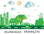 green city  with eco concept... | Shutterstock .eps vector #595496270