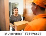 asian woman accepting a... | Shutterstock . vector #595496639