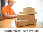 delivery call center online... | Shutterstock . vector #595496738