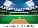 cricket stadium with neon... | Shutterstock .eps vector #595498739