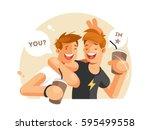 two friends having fun | Shutterstock .eps vector #595499558