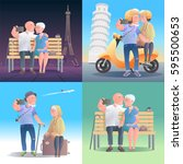 old people travel to italy ... | Shutterstock .eps vector #595500653