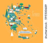 map of greece with islands... | Shutterstock .eps vector #595500689