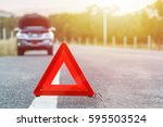 red emergency stop sign and... | Shutterstock . vector #595503524