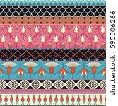 egyptian ornament tribal... | Shutterstock .eps vector #595506266