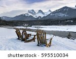 three sisters  main canmore... | Shutterstock . vector #595510034