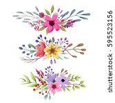 watercolor floral bouquet with... | Shutterstock .eps vector #595523156