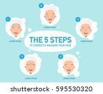 the five steps to correctly... | Shutterstock .eps vector #595530320