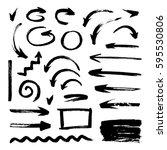 set of grunge brush strokes ... | Shutterstock .eps vector #595530806