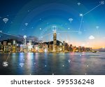 hongkong city network... | Shutterstock . vector #595536248