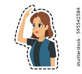 pretty young woman icon image  | Shutterstock .eps vector #595542584