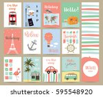 travel collection for banners... | Shutterstock .eps vector #595548920