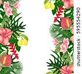 hand drawn tropical background... | Shutterstock .eps vector #595554290