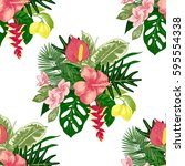 seamless pattern with hand... | Shutterstock .eps vector #595554338