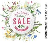 spring sale round paper emblem... | Shutterstock .eps vector #595554410
