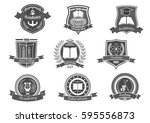 University and academy vector icons. Emblems or shields set for high school education graduates in maritime science, music or law. Ribbons and badges of bachelor hat, laurel wreath, book and anchor