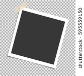 photo frame with sticky tape on ... | Shutterstock .eps vector #595559150