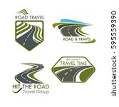travel agency and road tourism... | Shutterstock .eps vector #595559390