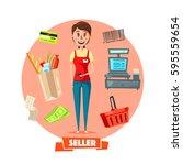 shop seller or cashier... | Shutterstock .eps vector #595559654