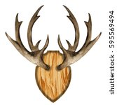 watercolor antlers on wooden... | Shutterstock . vector #595569494