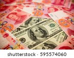chinese yuan note and u.s.... | Shutterstock . vector #595574060