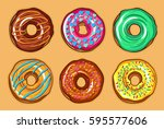 decorative hand drawn donuts... | Shutterstock .eps vector #595577606