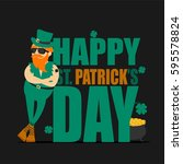 st. patrick's day greeting card ... | Shutterstock .eps vector #595578824