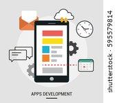 vector flat illustration of app ... | Shutterstock .eps vector #595579814