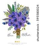 beautiful watercolor bouquet... | Shutterstock . vector #595580024