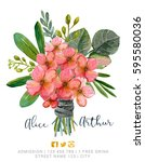 beautiful watercolor bouquet...   Shutterstock . vector #595580036