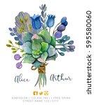 beautiful watercolor bouquet... | Shutterstock . vector #595580060
