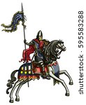 medieval warrior on a horse.... | Shutterstock . vector #595583288