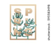 square frame with succulents....   Shutterstock .eps vector #595583498
