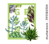 square frame with succulents....   Shutterstock .eps vector #595583504