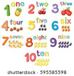 counting numbers with fruits... | Shutterstock .eps vector #595585598