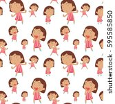 seamless background with happy... | Shutterstock .eps vector #595585850