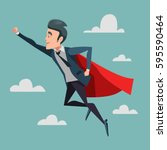 super businessman in red cape... | Shutterstock .eps vector #595590464