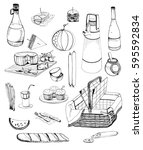 hand drawn picnic items set.... | Shutterstock .eps vector #595592834