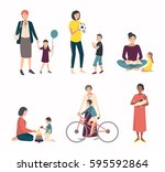 mothers with children  baby.... | Shutterstock .eps vector #595592864